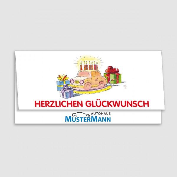 "Geburtstags-Klappkarte, Motiv ""Auto-Torte"""
