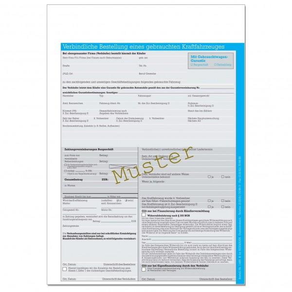 Verbindliche Bestellung eines gebrauchten KFZ. Mit Garantie. DIN A4