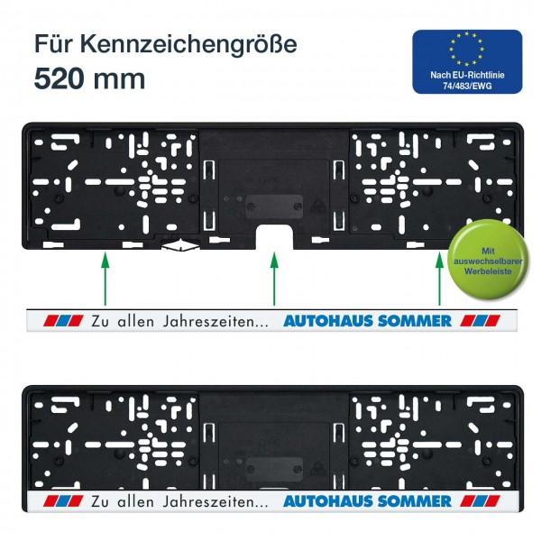 Kennzeichenhalter mit Schiebeverschluss mit mehrfarbigem Druck passend für 520 x 110 mm Kennzeichen
