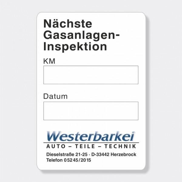 """Service-Aufkleber aus PVC-Folie, Größe: 45 x 65 mm, Motiv """"Gasanlagen-Inspektion"""""""