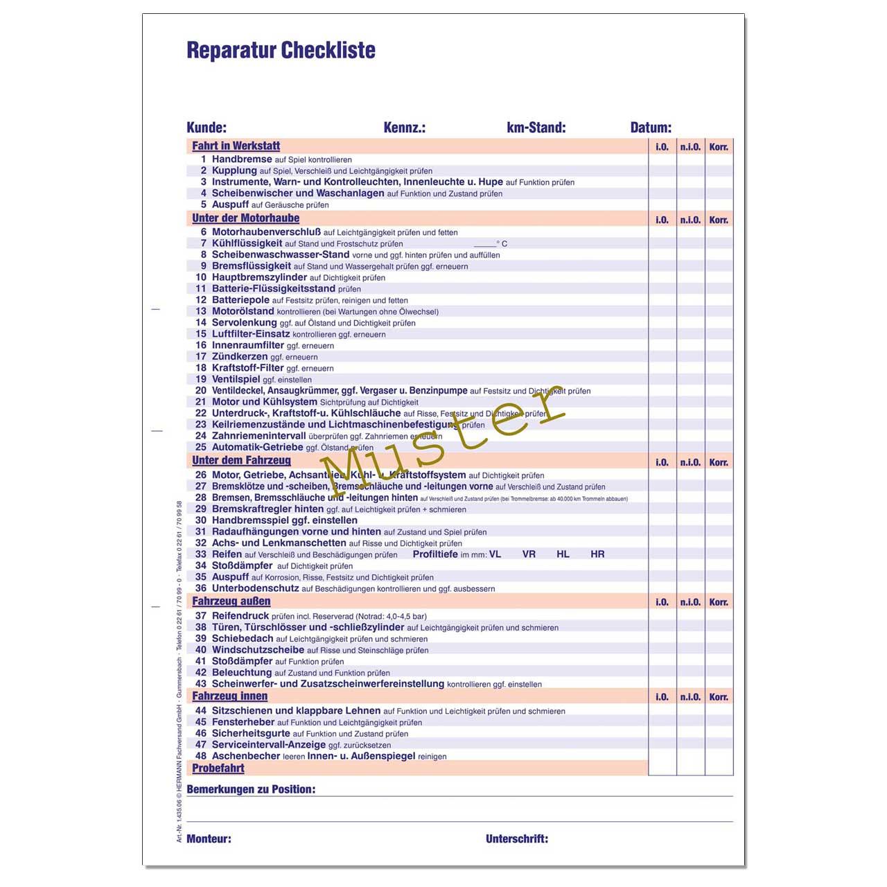 reparatur checkliste din a4 werkstattformulare kfz. Black Bedroom Furniture Sets. Home Design Ideas