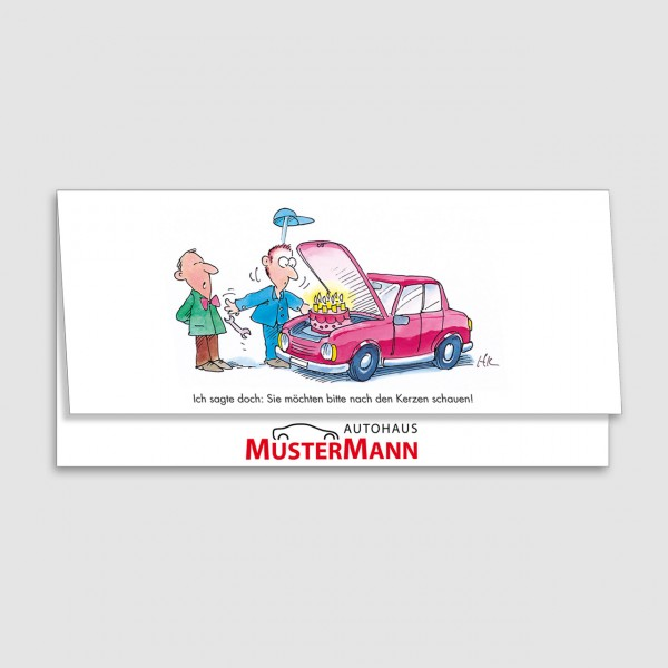 "Geburtstags-Klappkarte, Motiv ""Torte im Motorraum"""