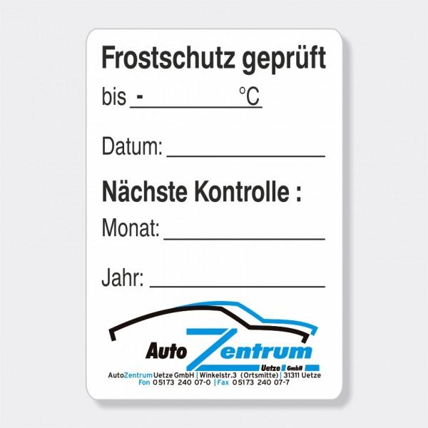 """Service-Aufkleber aus PVC-Folie, Größe: 45 x 65 mm, Motiv """"Frostschutz / Kontrolle"""""""