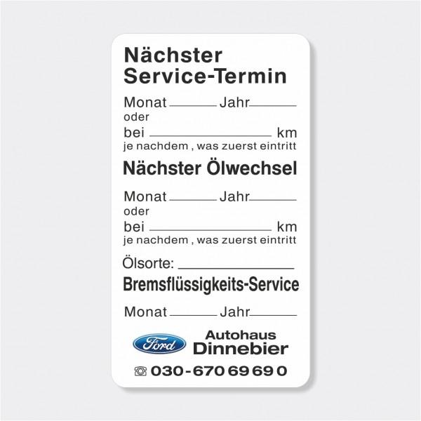 """Service-Aufkleber aus PVC-Folie, Größe: 45 x 80 mm, Motiv """"Service / Ölwechsel / Bremsflüssigkeit"""""""