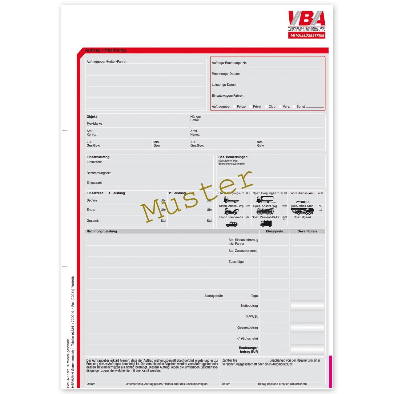 Abschleppauftrag / Rechnung für VBA-Mitgliedsbetriebe. DIN A4 ...