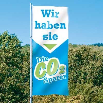 "Fahne ""CO2-Sparer, Hochformat, 120 x 300 cm"