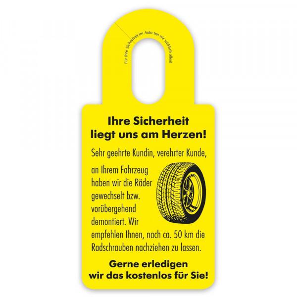 """Hinweis-Spiegelanhänger """"Radschrauben prüfen"""""""