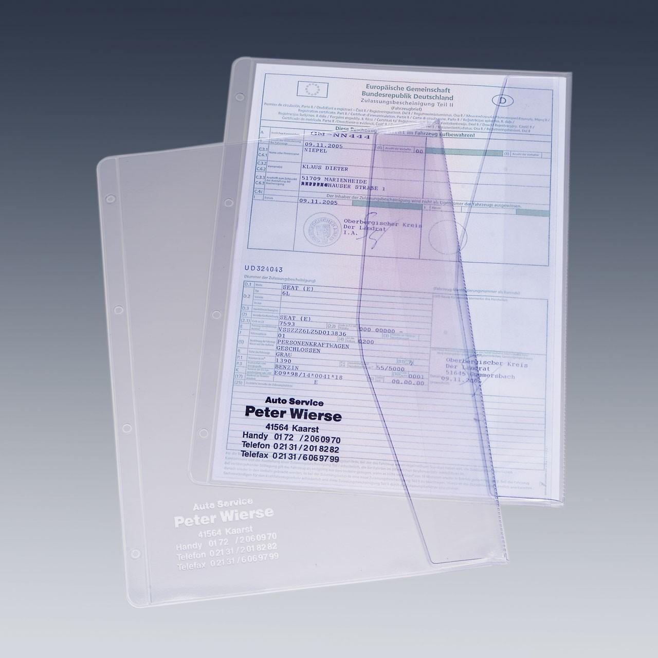 Dokumentenhülle für DIN A4 Formate, mit Firmeneindruck | Kfz-Schein ...