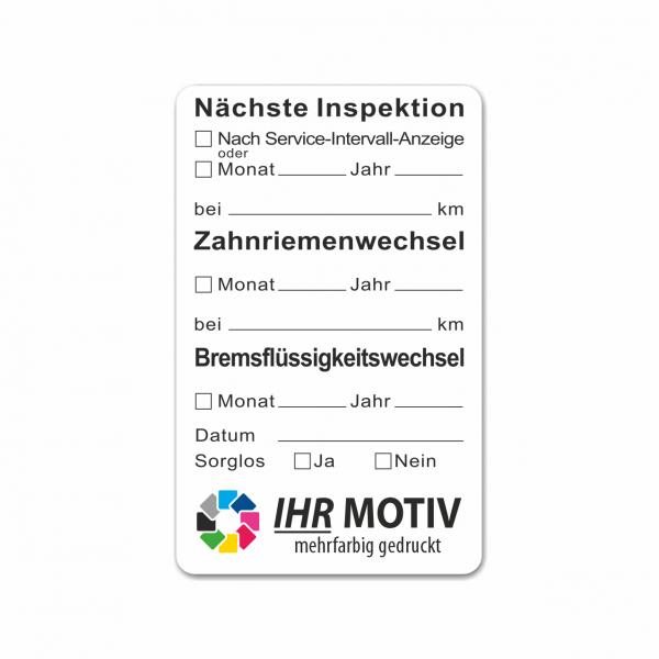 """Service-Aufkleber aus PVC-Folie, Größe: 50 x 80 mm, Motiv """"Inspektion/Zahnriemen/Bremsflüssigkeit"""""""