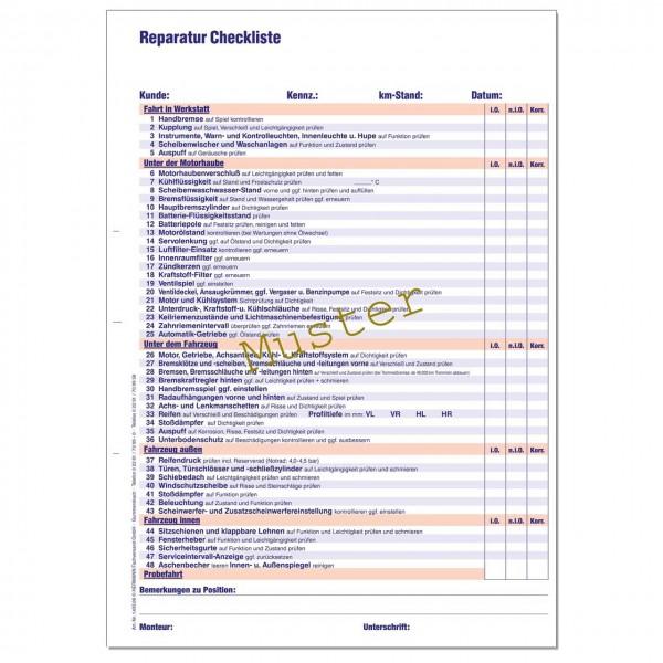Reparatur-Checkliste, DIN A4