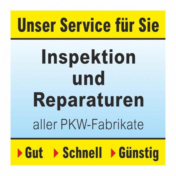 """Werbebanner """"Inspektion und Reparaturen"""", 174 x 174 cm"""
