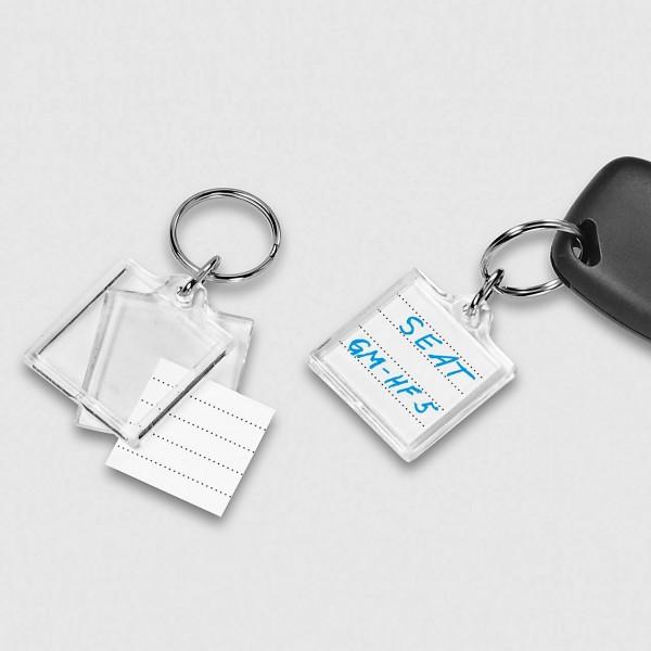 Acryl-Schlüsselanhänger mit beschriftbaren Papiereinlagen