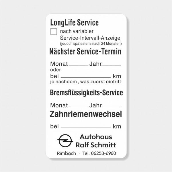 "Service-Aufkleber aus PVC-Folie, Größe: 45 x 80 mm, Motiv ""Longlife-Service / Bremsfl. / Zahnriemen"