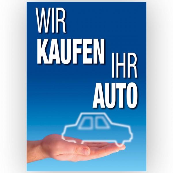 """Plakat DIN A1, """"Wir kaufen Ihr Auto"""", Design blau"""