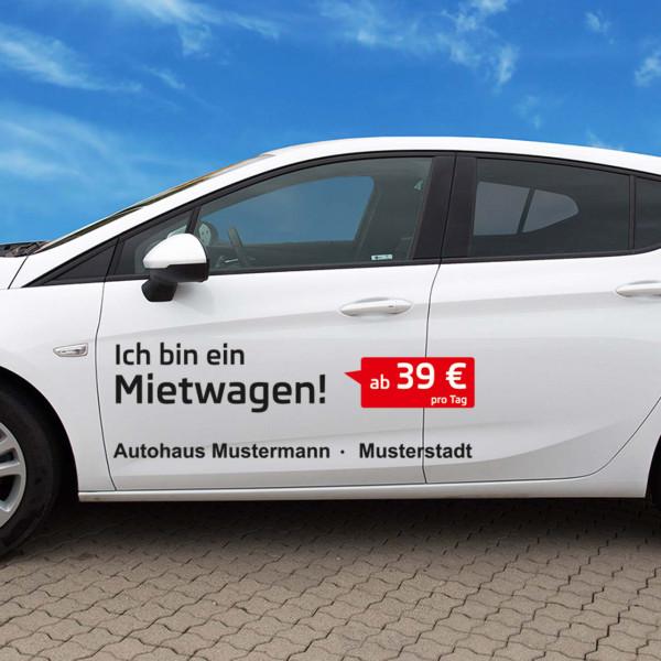 """Autobeschriftung """"Mietwagen"""", Design 2"""