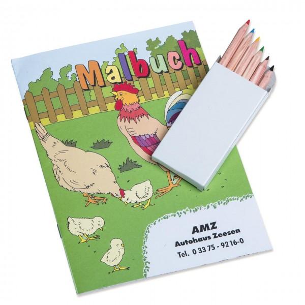 Kinder Malbuch Set in DIN A5 mit verschiedenen Themen als Werbegeschenk