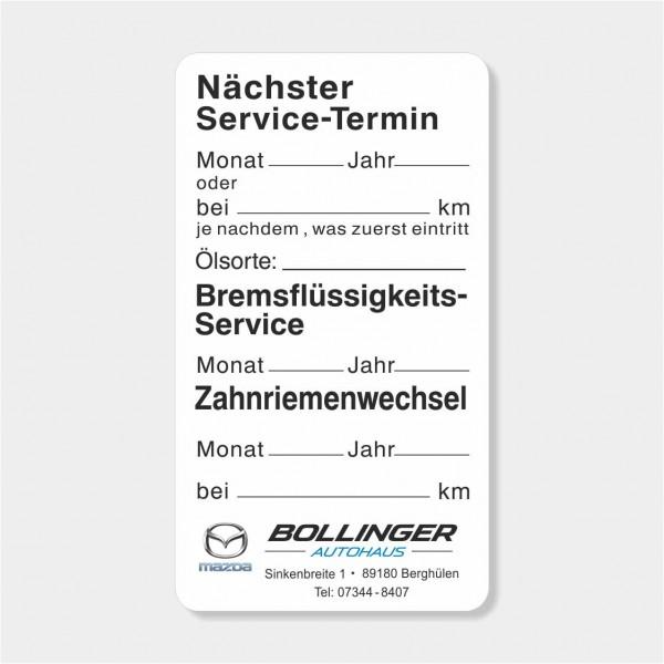 """Service-Aufkleber aus PVC-Folie, Größe: 45 x 80 mm, Motiv """"Service / Bremsflüssigkeit / Zahnriemen"""""""