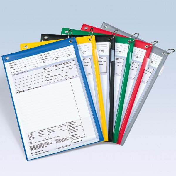 Auftragstaschen DIN A4 mit Klappring und Klett-Verschluss, mit Unterlagen-Fach auf der Rückseite