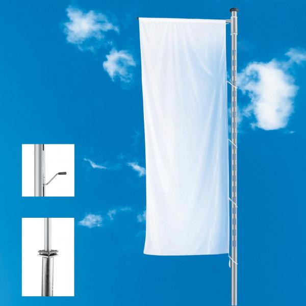 Fahnenmast mit LED-Lichtmodul und Ausleger, stationär