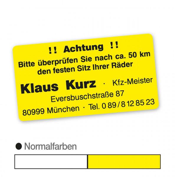 """Hinweis-Etiketten """"Radschrauben prüfen"""" aus Papier, Normalfarbe, mit Firmeneindruck"""