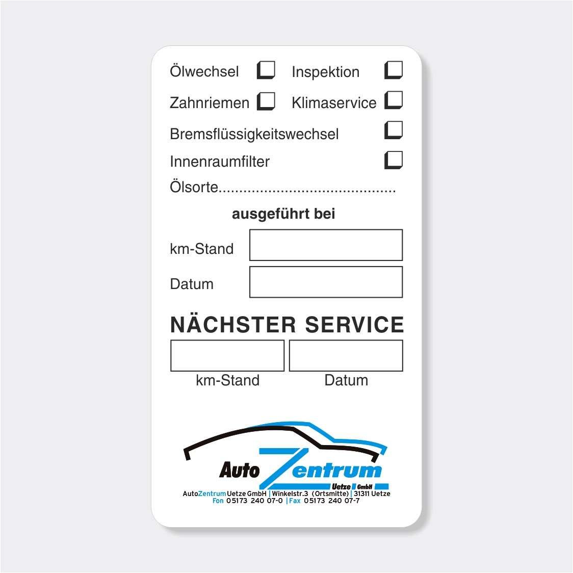 Service Etiketten & Service Anhänger für die KFZ Werkstatt | HERMANN ...
