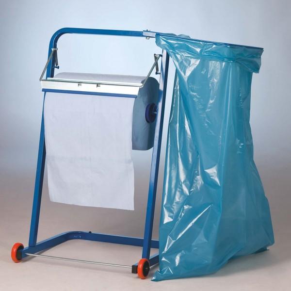 Papierrollenhalter mit Müllsackhalter für Putzkrepp