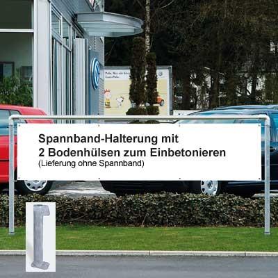 Mobiles Display-System mit 2 Bodenhülsen aus Stahl für Spannbänder 300 x 70 cm