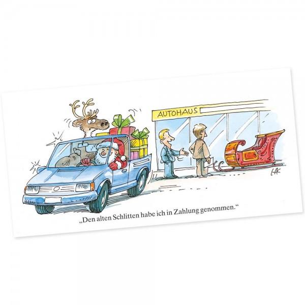 "Weihnachts-Postkarte, Motiv ""Auto"""