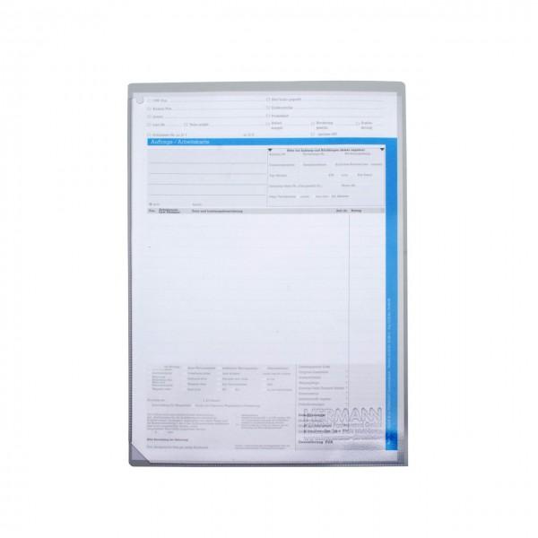 Auftrags-Schutzhüllen DIN A4, ohne Unterlagen-Fach, leichte Ausführung aus PVC, Rückseite grau