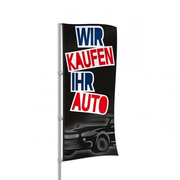 """Fahne """"Wir kaufen Ihr Auto"""", Design schwarz"""