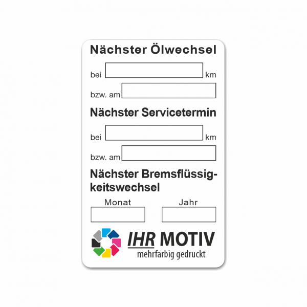 """Service-Aufkleber aus PVC-Folie, Größe: 50 x 80 mm, Motiv """"Ölwechsel / Service / Bremsflüssigkeit"""""""