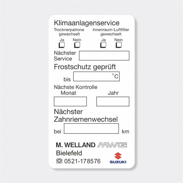 """Service-Aufkleber aus PVC-Folie, Größe: 45 x 80 mm, Motiv """"Klimaanlage / Frostschutz / Zahnriemen"""""""