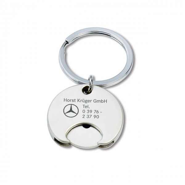 Schlüsselanhänger aus mattiertem Metall mit Einkaufswagenchip