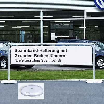 Mobiles Display-System mit 2 runden Bodenständern Ø 60 cm für Spannbänder 300 x 70 cm