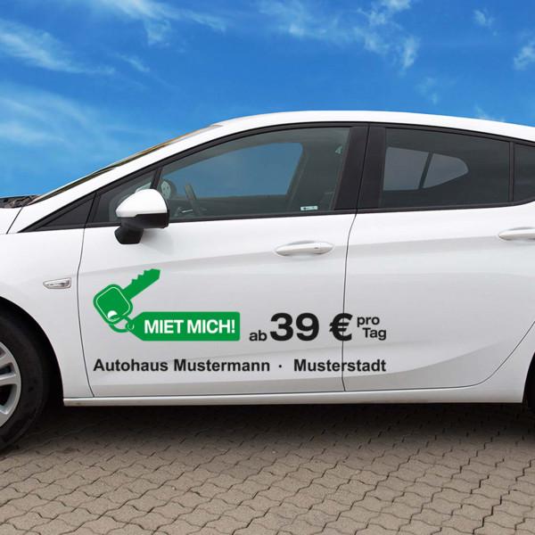 """Autobeschriftung """"Mietwagen"""", Design 3"""