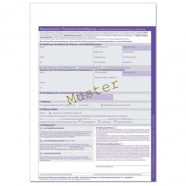 Pannenkosten-Übernahmebestätigung. DIN A4