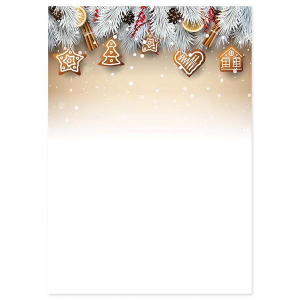 """Weihnachts-Briefpapier, Motiv """"Plätzchen"""""""