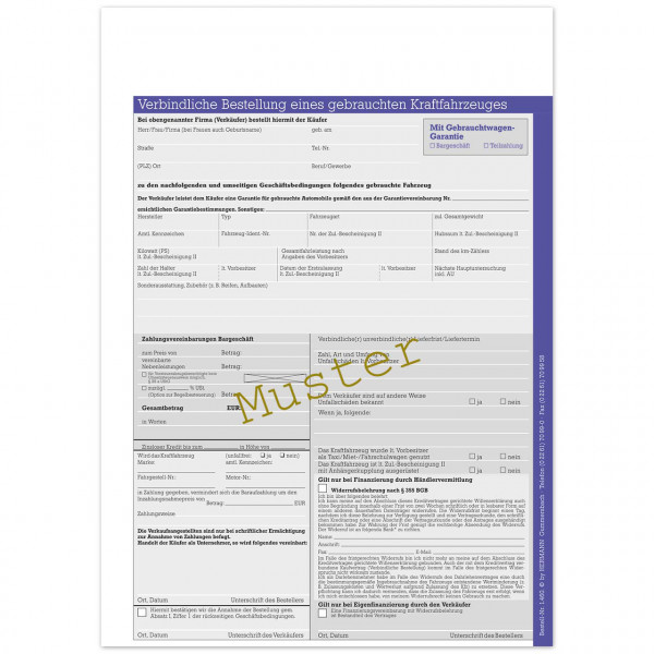 Verbindliche Bestellung eines gebrauchten KFZ, mit Garantie