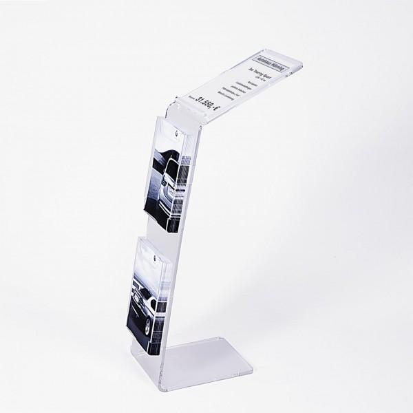 """Info-Präsenter """"Twice"""" mit Preisblatt-Auflage und 2 Prospektboxen"""