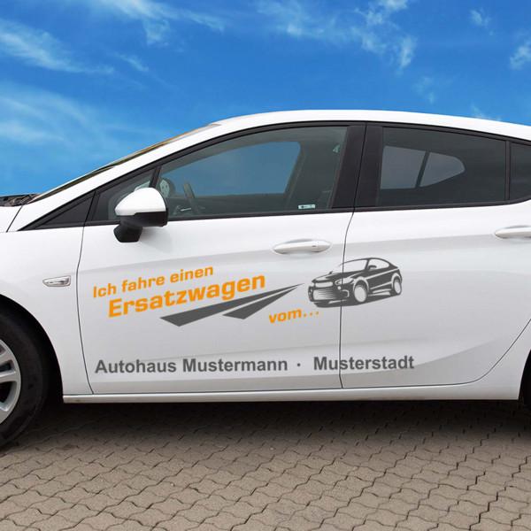 """Autobeschriftung """"Ersatzwagen"""", Design 2"""