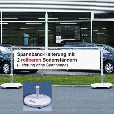 Mobiles Display-System mit 2 runden Bodenständern Ø 70 cm für Spannbänder 300 x 70 cm