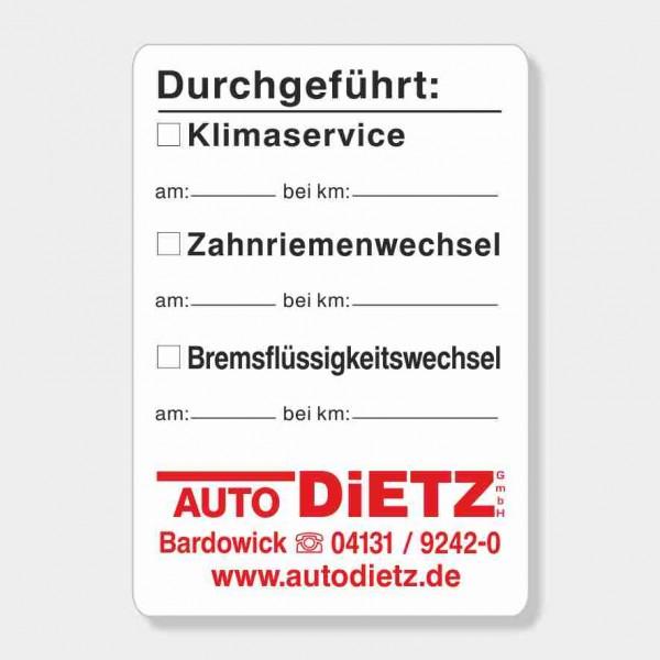 """Service-Aufkleber aus PVC-Folie, Größe: 45 x 65 mm, Motiv """"Klima / Zahnriemen / Bremsflüssigkeit"""""""