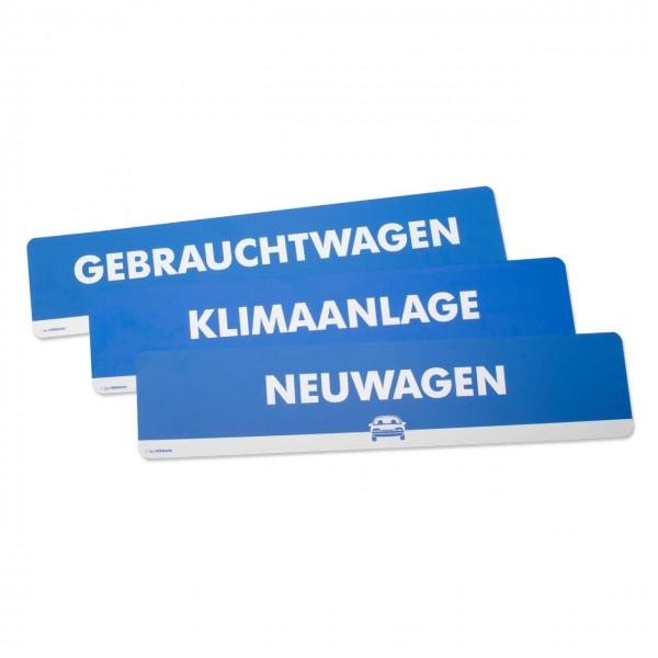 Text-Schilder in Kennzeichengröße, im Top-Line Design, Farbe: blau