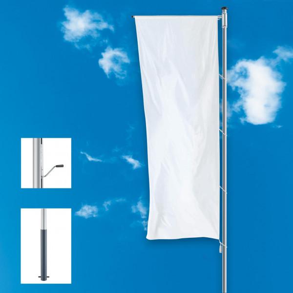 Fahnenmast mit innenliegender Kurbel-Hissvorrichtung und Ausleger, stationär