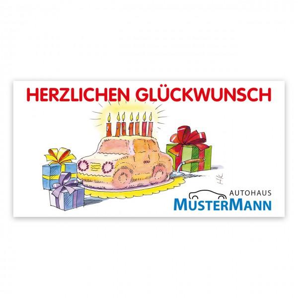 Geburtstags-Maxi-Postkarte, Motiv: Auto-Torte