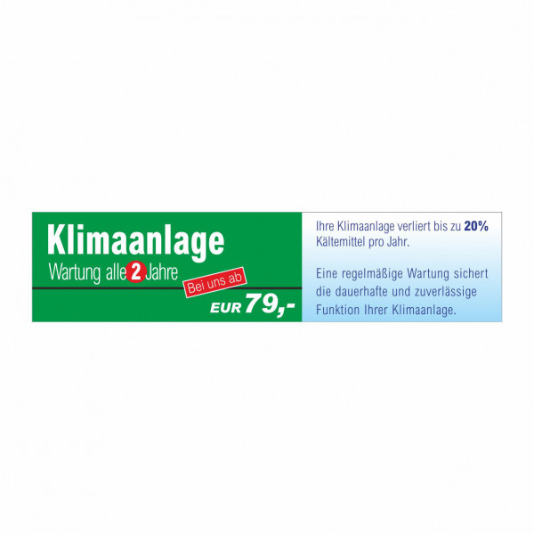 """Werbebanner """"Klimaanlagen-Wartung"""", 300 x 70 cm"""