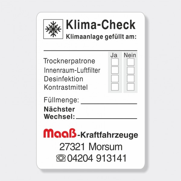 "Service-Aufkleber aus PVC-Folie, Größe: 45 x 65 mm, Motiv ""Klima-Check"""