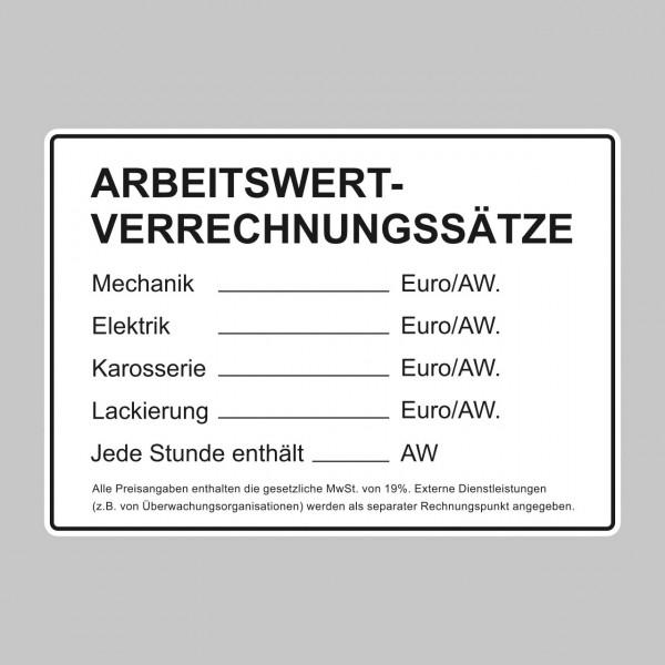 """Tafel """"Arbeitswert-Verrechnungssätze"""""""