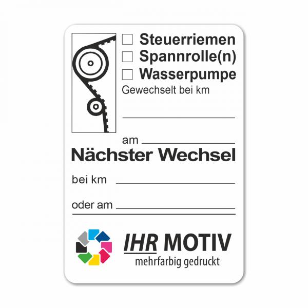 """Service-Aufkleber aus PVC-Folie, Größe: 45 x 65 mm, Motiv """"Steuerriemen / Spannrolle / Wasserpumpe"""""""
