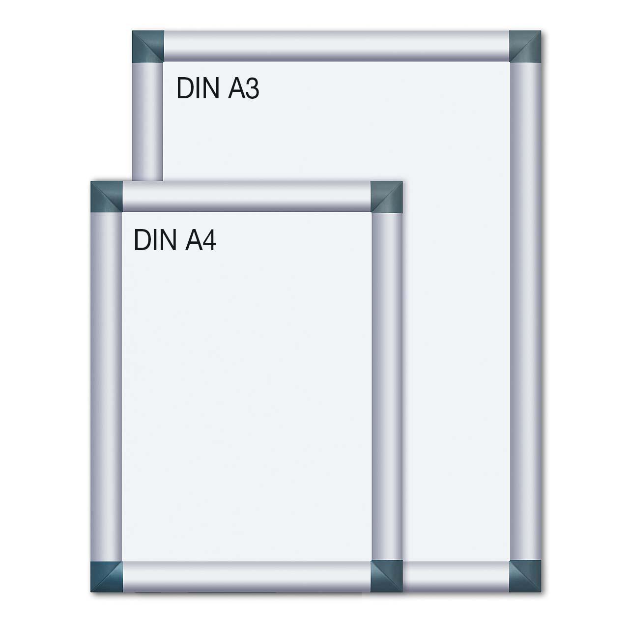 Alu-Plakatrahmen mit kantigen Ecken, DIN A4 und DIN A3 ...